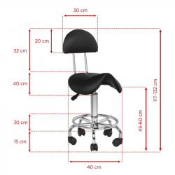 Arbetsstol / sadelstol med ryggstöd 6001 svart