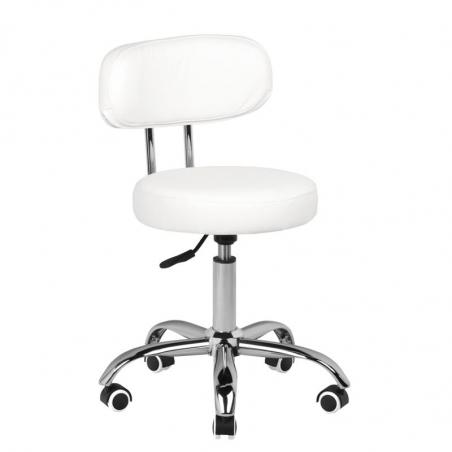 Låg arbetsstol A-007 vit för fotvård