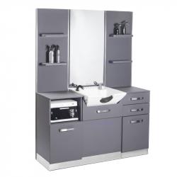 Frisörspegel / arbetsplats med schamponering GABBIANO B085 grå