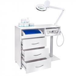 Fotvårdsset Y-300 MAX inkl. rullvagn, sterilisator, fräsmaskin och bordslampa