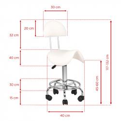 Arbetsstol / sadelstol med ryggstöd 6001 vit