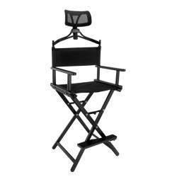 Hopfällbar make-up stol LOOK ALUMINIUM svart med nackstöd