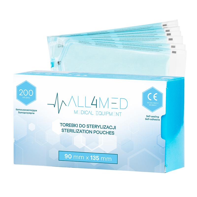 Steriliseringspåsar för autoklav ALL4MED 90mm X 135mm 200st