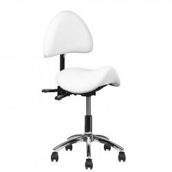 Arbetsstol / sadelstol 249A vit med ryggstöd