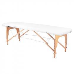 Bärbar massagebänk / behandlingssäng WOOD COMFORT vit + väska