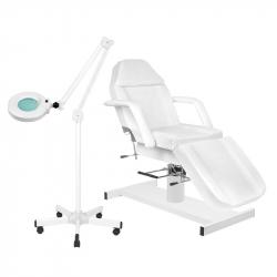 Behandlingsbänk A210 vit + förstoringslampa / golvlampa S5 LED