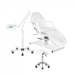 Behandlingsbänk A210 vit + förstoringslampa S5 LED + sadelstol vit AM-302