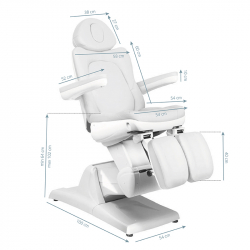 Elektrisk fotvårdsstol / behandlingsbänk AZZURRO 870S PEDI 3-motor vit