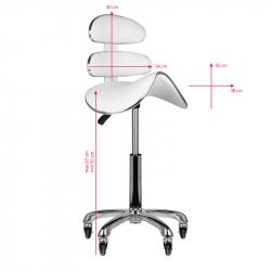 Arbetsstol / sadelstol AM-880 med ryggstöd extra hög vit