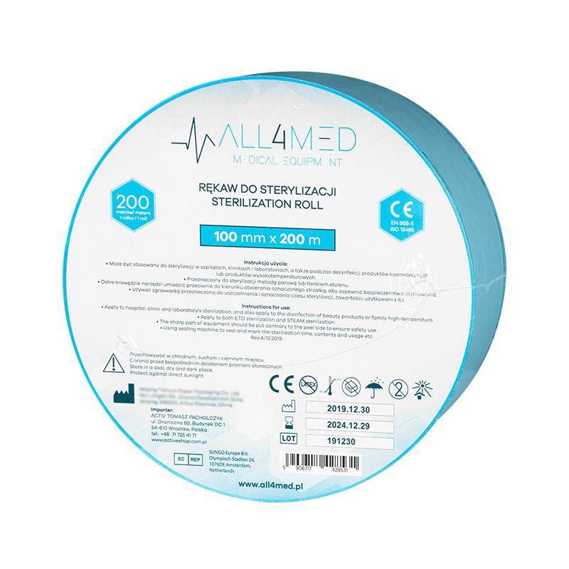 Steriliseringspåsar för autoklav ALL4MED 10cm x 200m