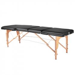 Bärbar massagebänk / behandlingssäng WOOD COMFORT med lutning svart + väska