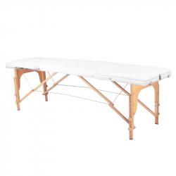Bärbar massagebänk / behandlingssäng WOOD COMFORT vit med lutning + väska