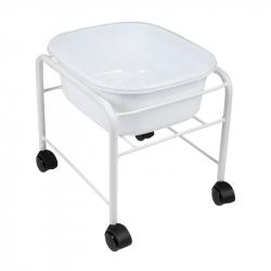 Fotbad (balja) med rullvagn vit