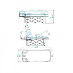 Behandlingssäng / massagebänk AZZURRO SPA KRYSTAL 370-3 vit, 4-motor, uppvärmning