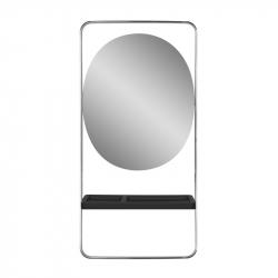 Frisörspegel / arbetsplats GABBIANO SOLO silver / svart